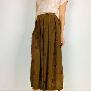 Vintage bird print rust brown pleated midi skirt m